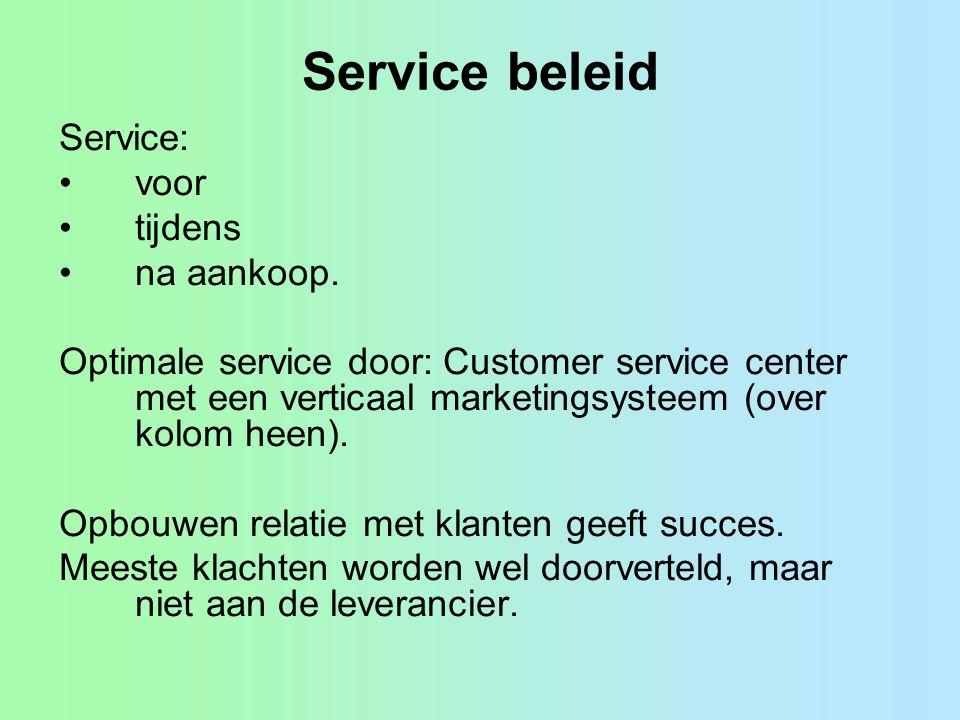 Service beleid Service: voor tijdens na aankoop.