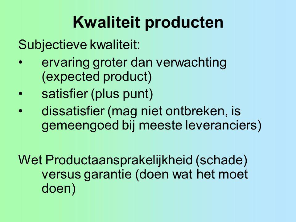 Kwaliteit producten Subjectieve kwaliteit: