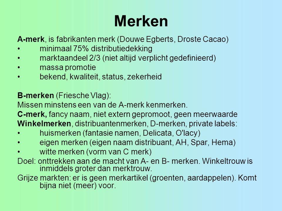 Merken A-merk, is fabrikanten merk (Douwe Egberts, Droste Cacao)