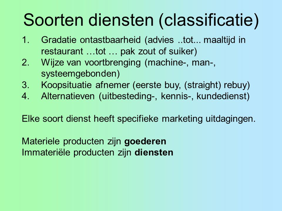 Soorten diensten (classificatie)