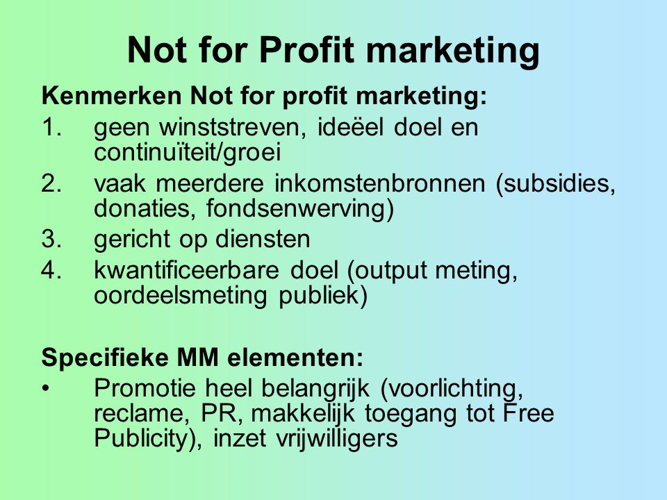 Not for Profit marketing