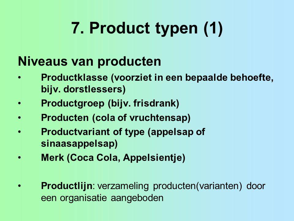 7. Product typen (1) Niveaus van producten