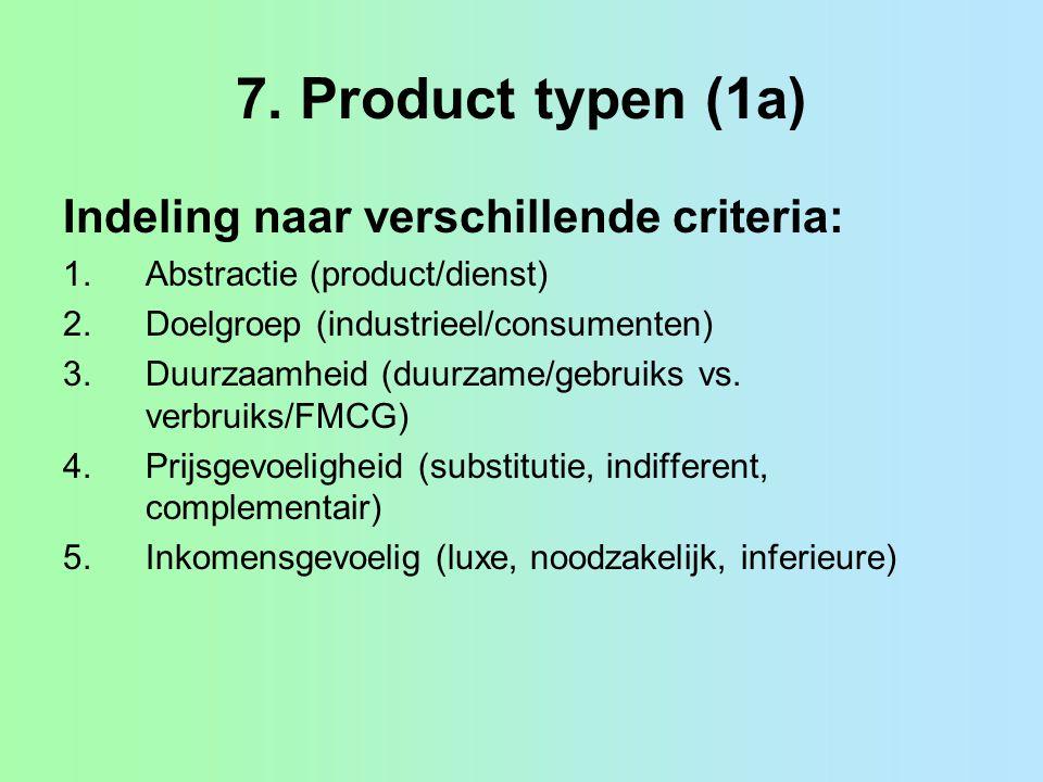 7. Product typen (1a) Indeling naar verschillende criteria:
