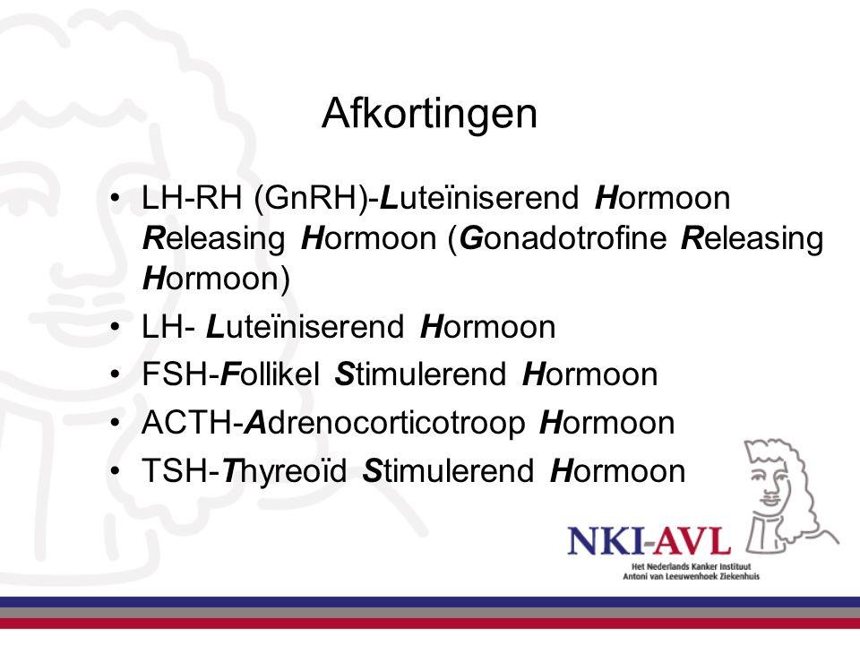 Afkortingen LH-RH (GnRH)-Luteïniserend Hormoon Releasing Hormoon (Gonadotrofine Releasing Hormoon) LH- Luteïniserend Hormoon.