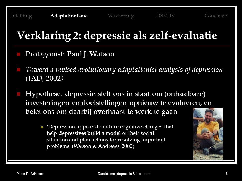 Verklaring 2: depressie als zelf-evaluatie