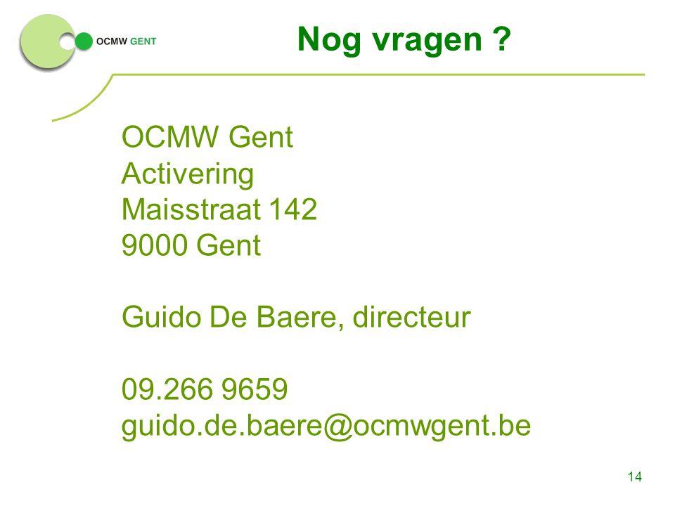 Nog vragen OCMW Gent Activering Maisstraat 142 9000 Gent