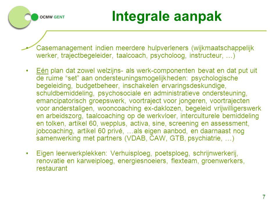 Integrale aanpak Casemanagement indien meerdere hulpverleners (wijkmaatschappelijk werker, trajectbegeleider, taalcoach, psycholoog, instructeur, …)