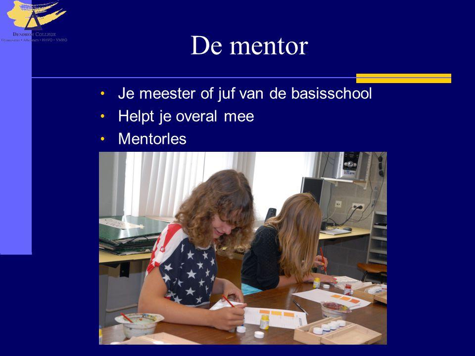 De mentor Je meester of juf van de basisschool Helpt je overal mee