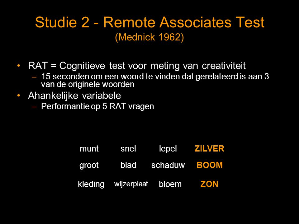 Studie 2 - Remote Associates Test (Mednick 1962)