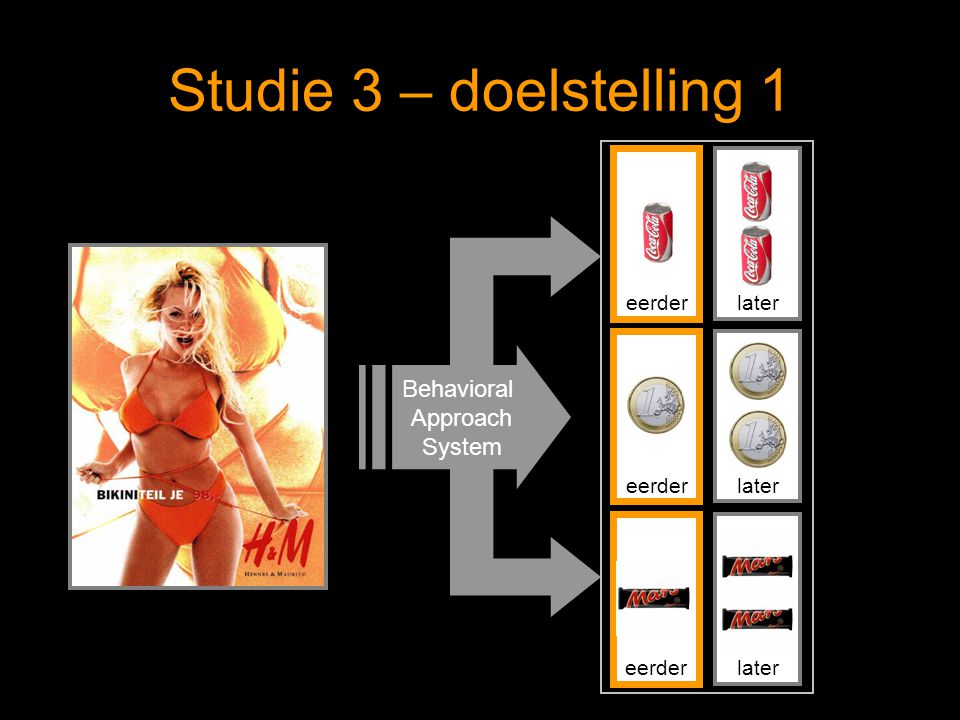 Studie 3 – doelstelling 1 Behavioral Approach System eerder later