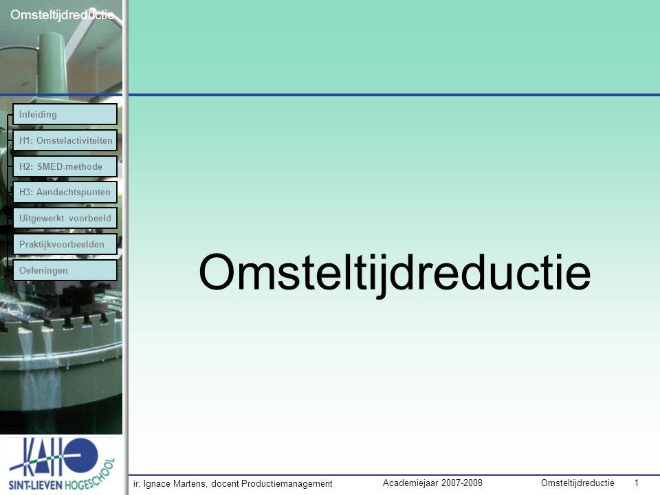 Omsteltijdreductie Inleiding H1: Omstelactiviteiten H2: SMED-methode