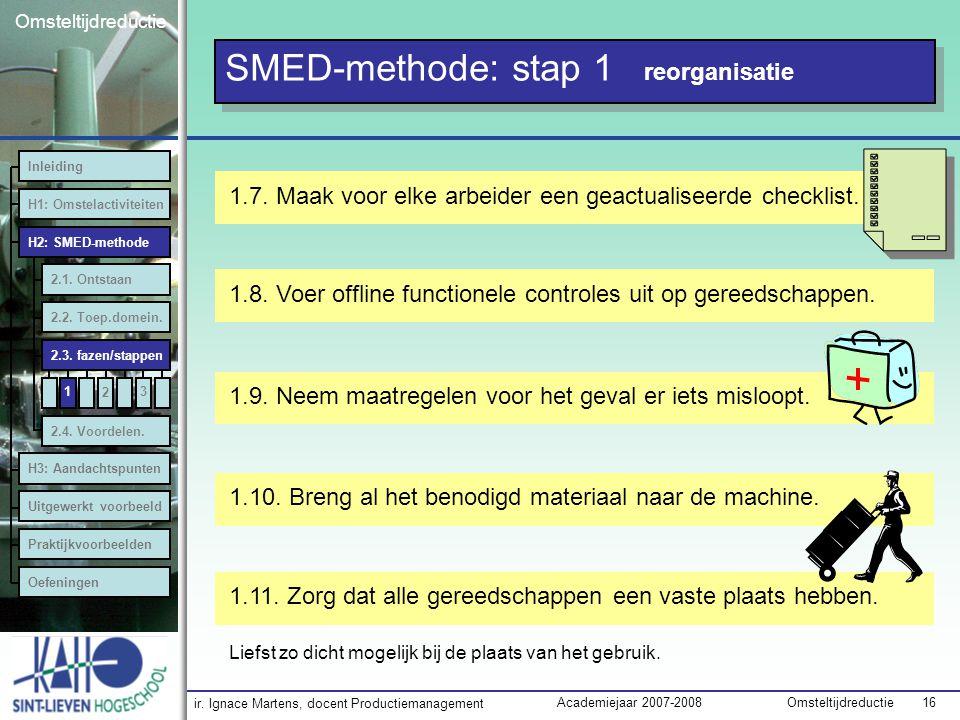 SMED-methode: stap 1 reorganisatie
