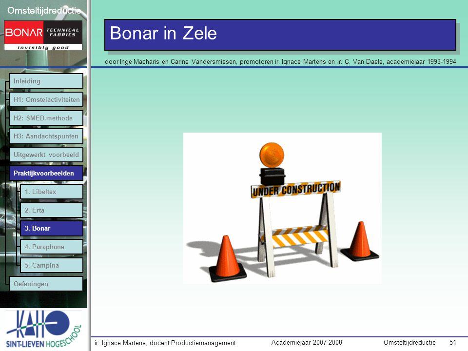 Bonar in Zele door Inge Macharis en Carine Vandersmissen, promotoren ir. Ignace Martens en ir. C. Van Daele, academiejaar 1993-1994.