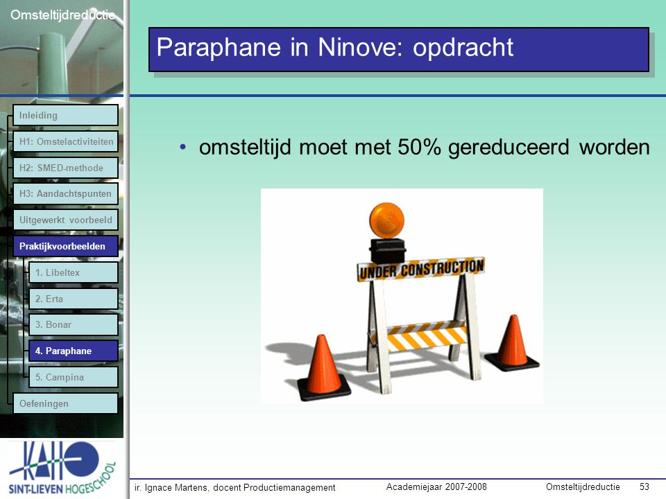 Paraphane in Ninove: opdracht