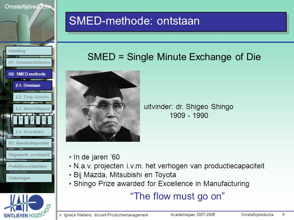SMED-methode: ontstaan
