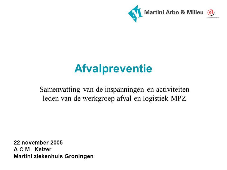 Afvalpreventie Samenvatting van de inspanningen en activiteiten leden van de werkgroep afval en logistiek MPZ.