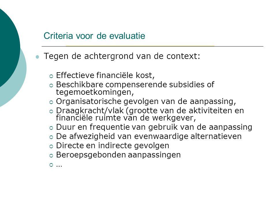 Criteria voor de evaluatie