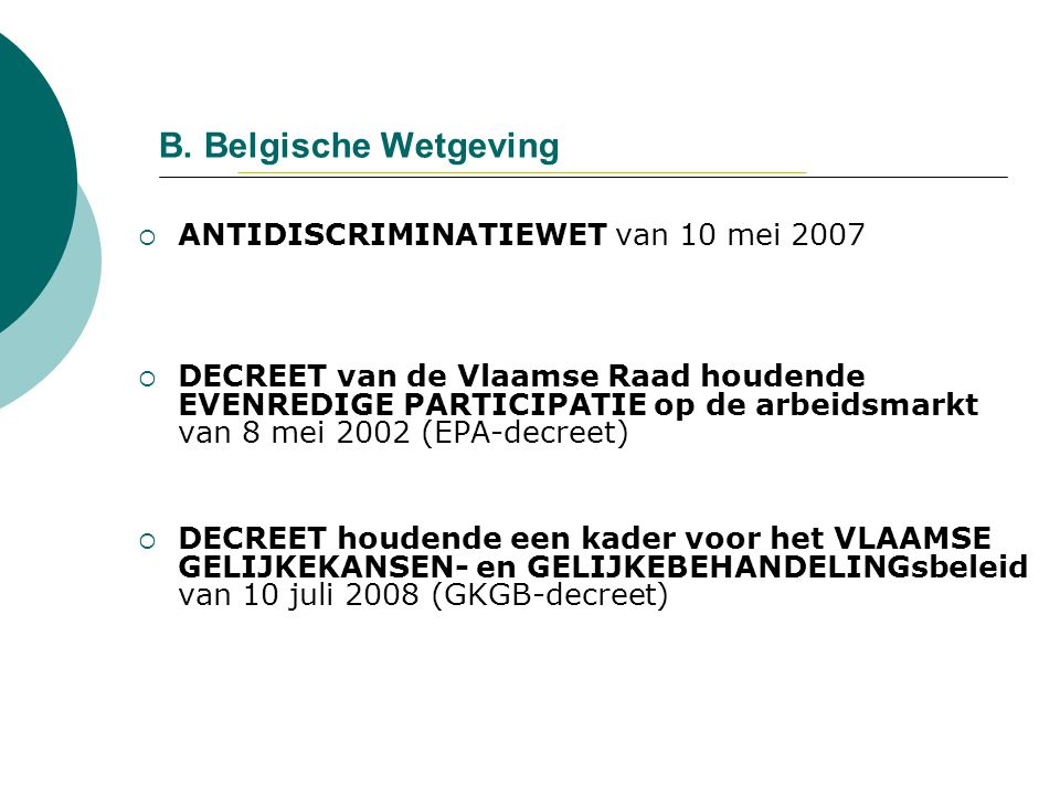 B. Belgische Wetgeving ANTIDISCRIMINATIEWET van 10 mei 2007