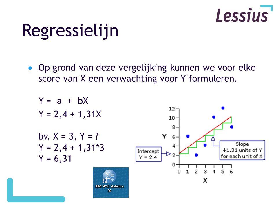 Regressielijn Op grond van deze vergelijking kunnen we voor elke score van X een verwachting voor Y formuleren. Y = a + bX.