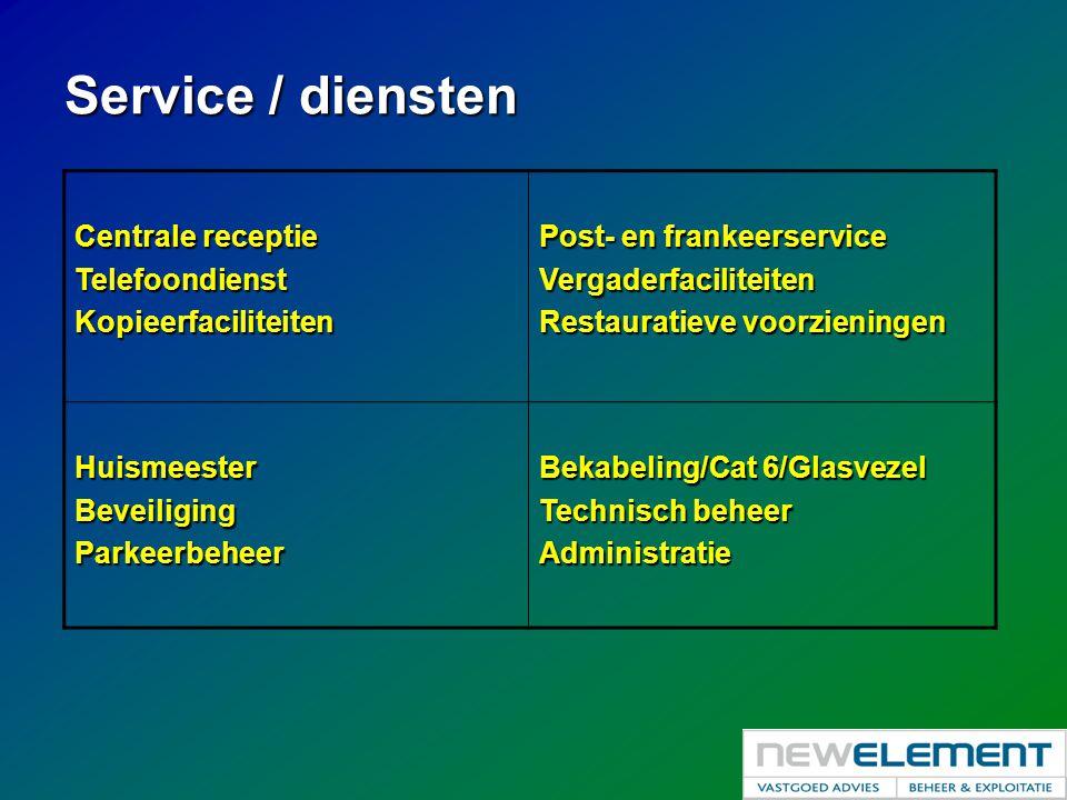 Service / diensten Centrale receptie Telefoondienst