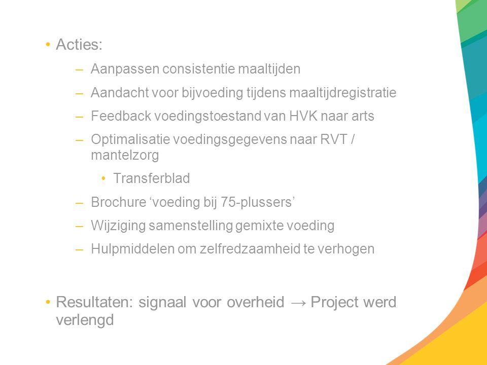 Resultaten: signaal voor overheid → Project werd verlengd