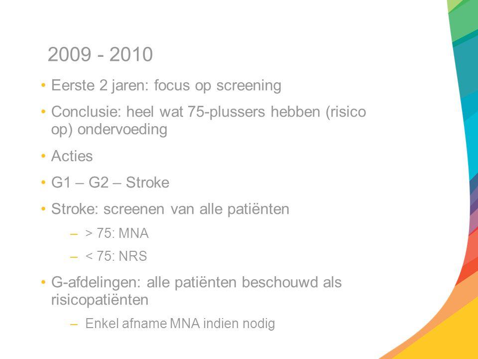 2009 - 2010 Eerste 2 jaren: focus op screening