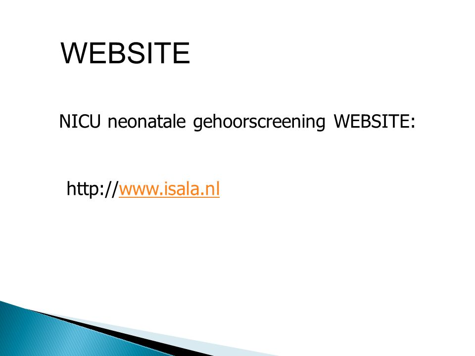 WEBSITE NICU neonatale gehoorscreening WEBSITE: