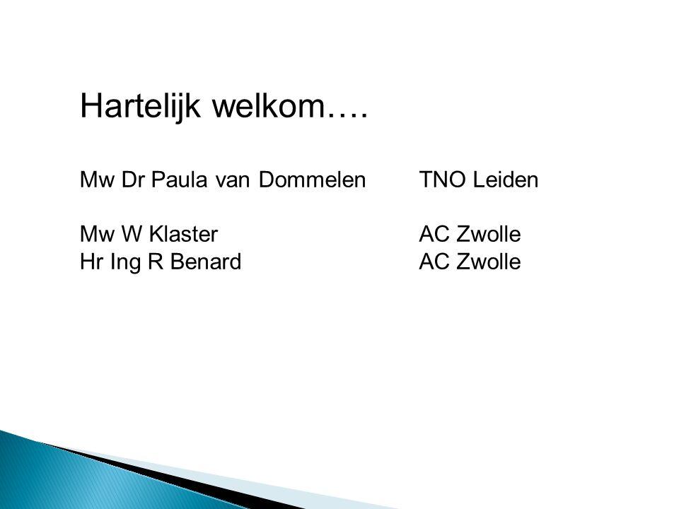 Hartelijk welkom…. Mw Dr Paula van Dommelen TNO Leiden