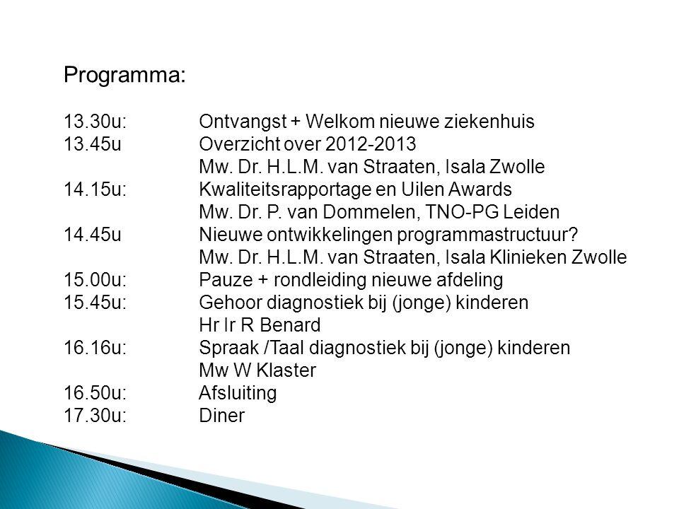 Programma: 13.30u: Ontvangst + Welkom nieuwe ziekenhuis