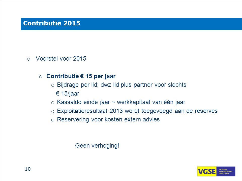 Contributie 2015 Voorstel voor 2015. Contributie € 15 per jaar. Bijdrage per lid; dwz lid plus partner voor slechts.