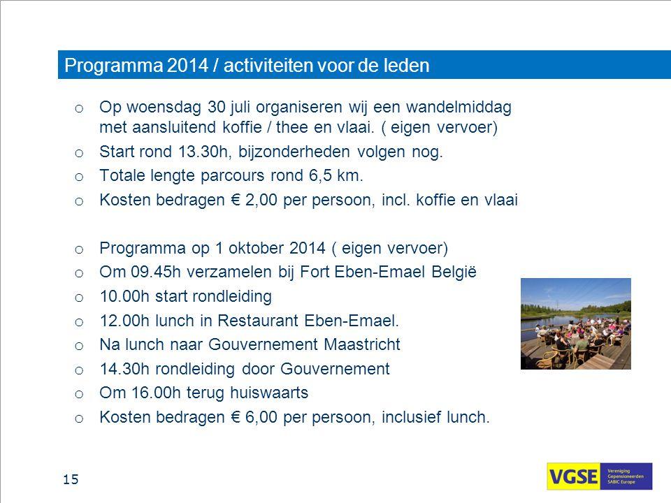 Programma 2014 / activiteiten voor de leden