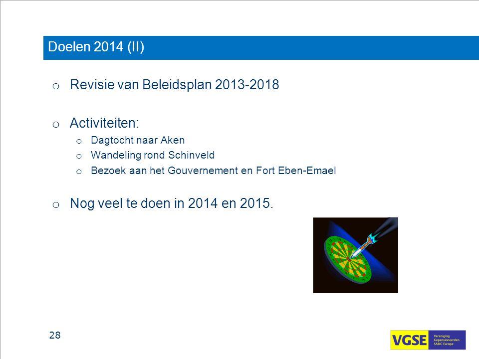 Revisie van Beleidsplan 2013-2018 Activiteiten: