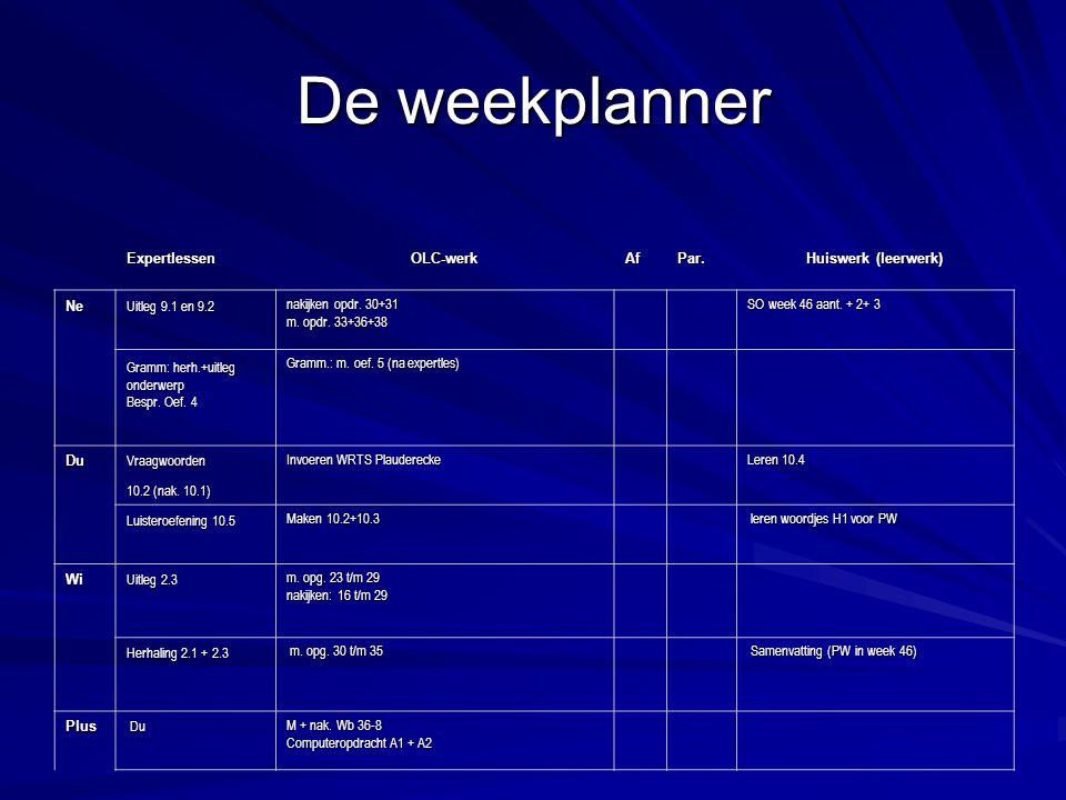 De weekplanner Expertlessen OLC-werk Af Par. Huiswerk (leerwerk) Ne