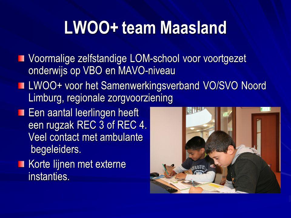LWOO+ team Maasland Voormalige zelfstandige LOM-school voor voortgezet onderwijs op VBO en MAVO-niveau.
