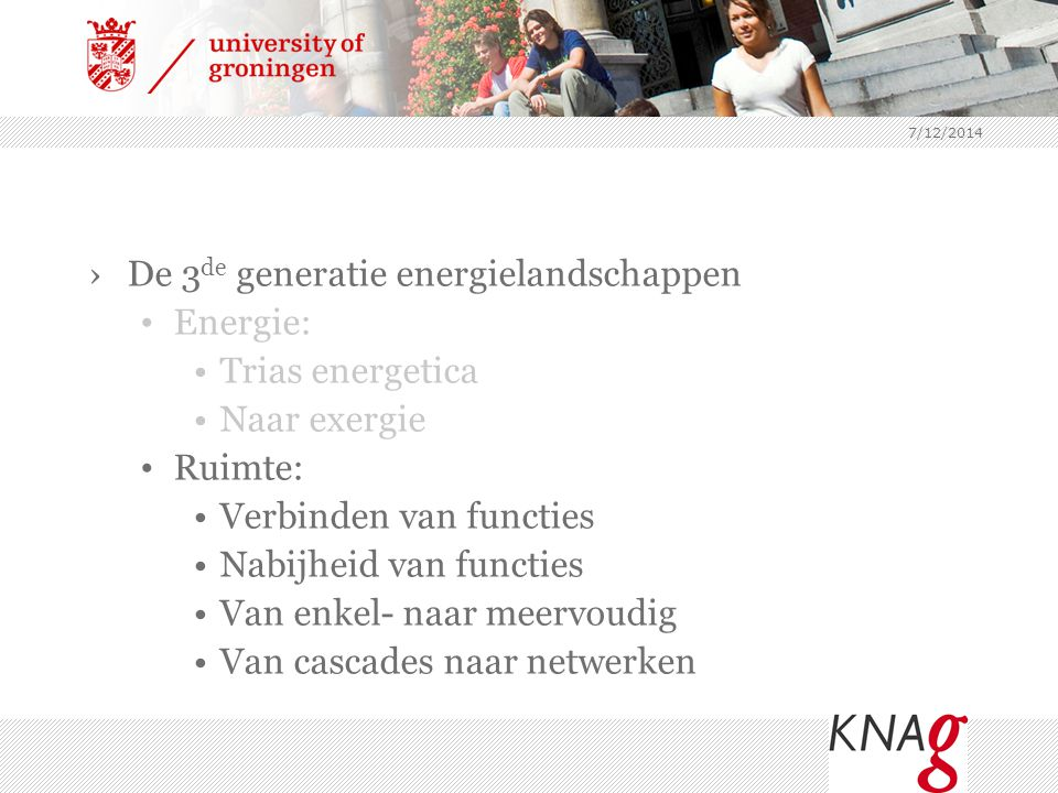 De 3de generatie energielandschappen Energie: Trias energetica