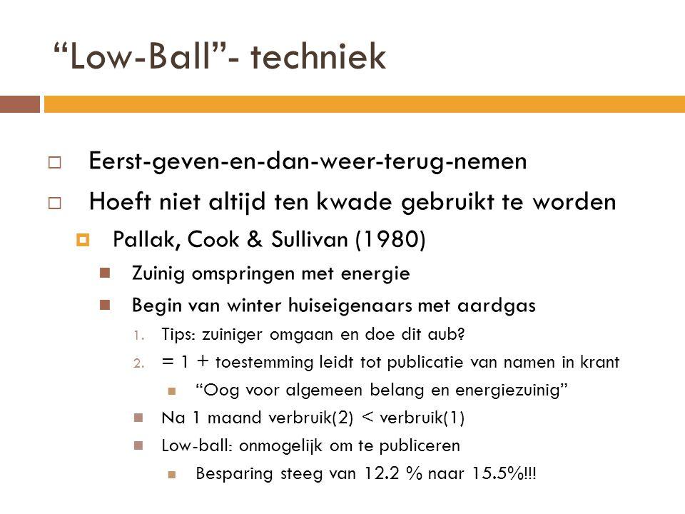 Low-Ball - techniek Eerst-geven-en-dan-weer-terug-nemen
