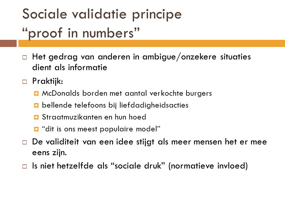 Sociale validatie principe proof in numbers