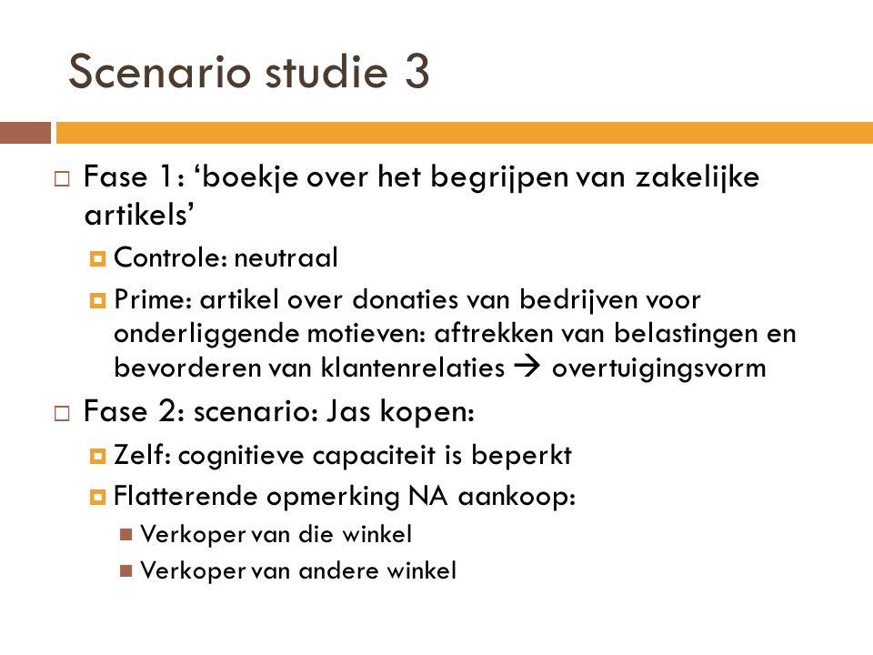 Scenario studie 3 Fase 1: 'boekje over het begrijpen van zakelijke artikels' Controle: neutraal.