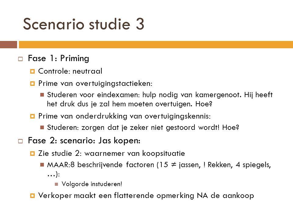 Scenario studie 3 Fase 1: Priming Fase 2: scenario: Jas kopen: