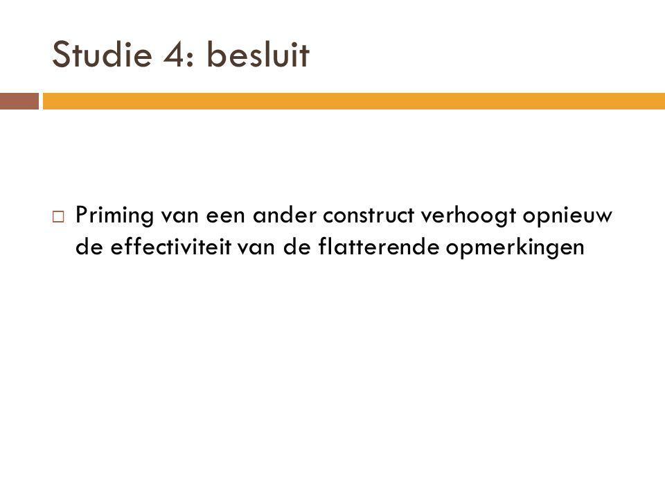 Studie 4: besluit Priming van een ander construct verhoogt opnieuw de effectiviteit van de flatterende opmerkingen.