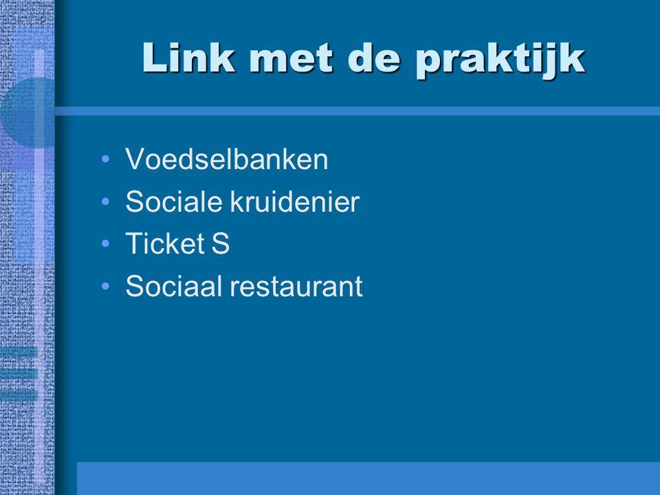 Link met de praktijk Voedselbanken Sociale kruidenier Ticket S