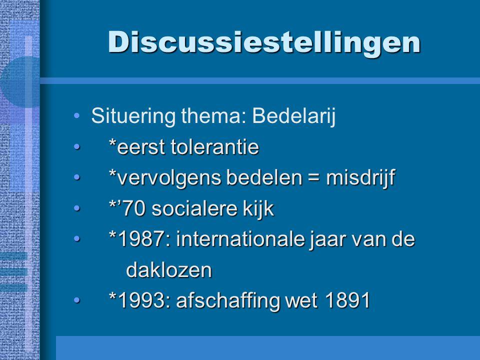Discussiestellingen Situering thema: Bedelarij *eerst tolerantie