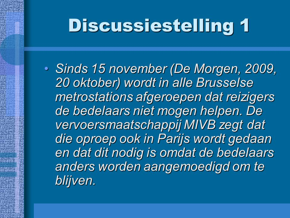 Discussiestelling 1