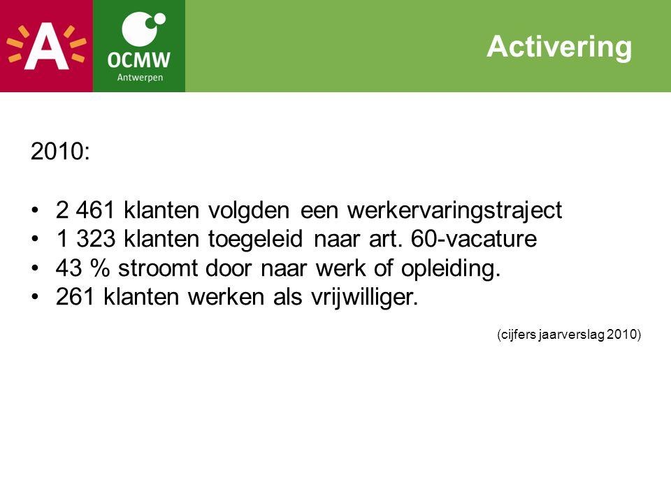 Activering 2010: 2 461 klanten volgden een werkervaringstraject