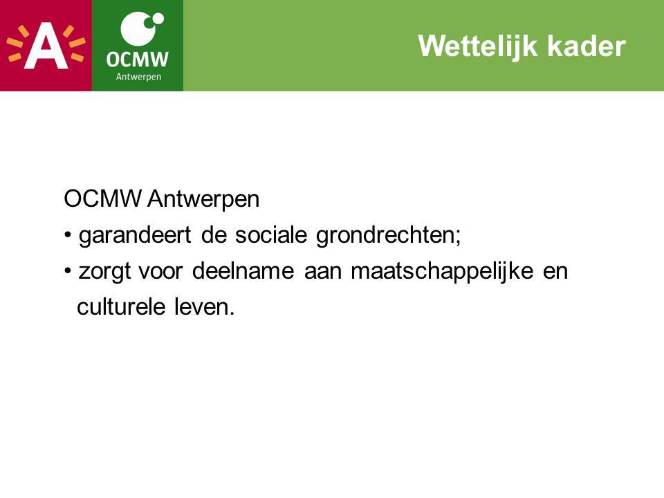 Wettelijk kader OCMW Antwerpen garandeert de sociale grondrechten;