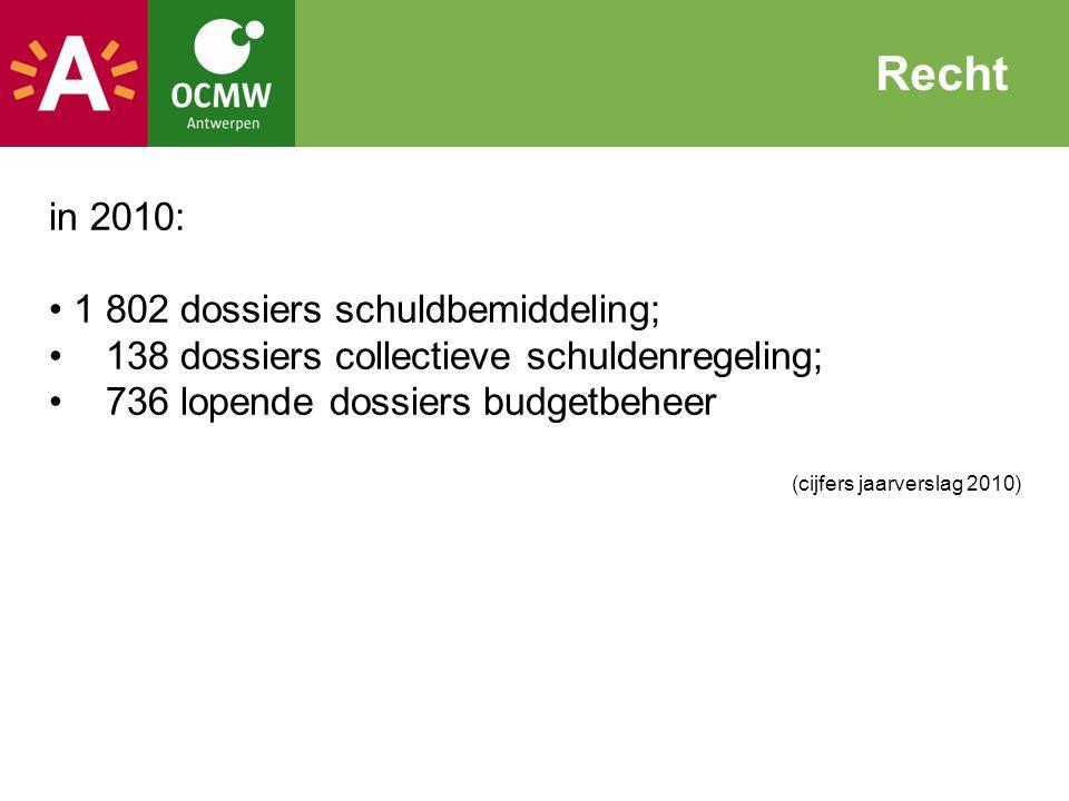 Recht in 2010: 1 802 dossiers schuldbemiddeling;