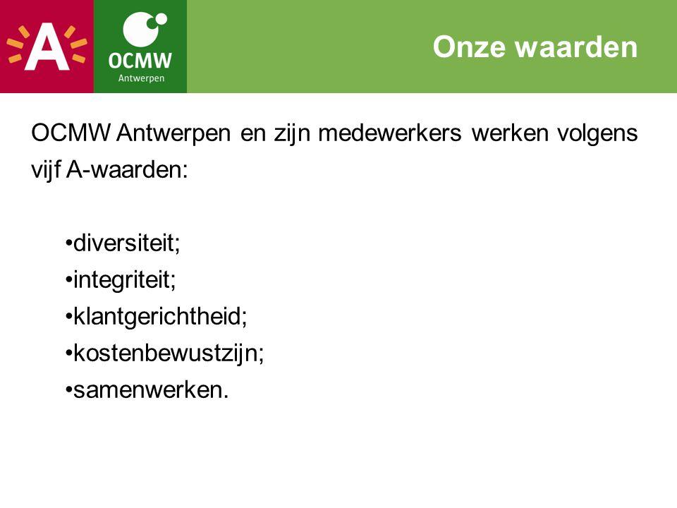 Onze waarden OCMW Antwerpen en zijn medewerkers werken volgens