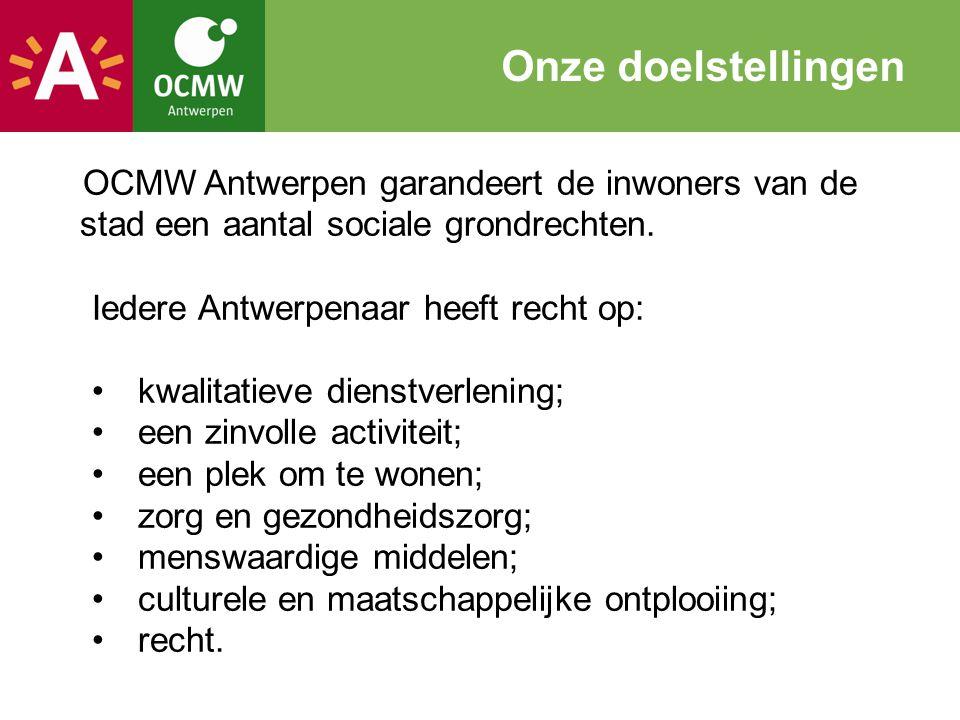 Onze doelstellingen OCMW Antwerpen garandeert de inwoners van de stad een aantal sociale grondrechten.