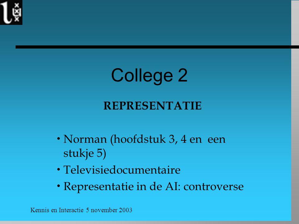 College 2 REPRESENTATIE Norman (hoofdstuk 3, 4 en een stukje 5)