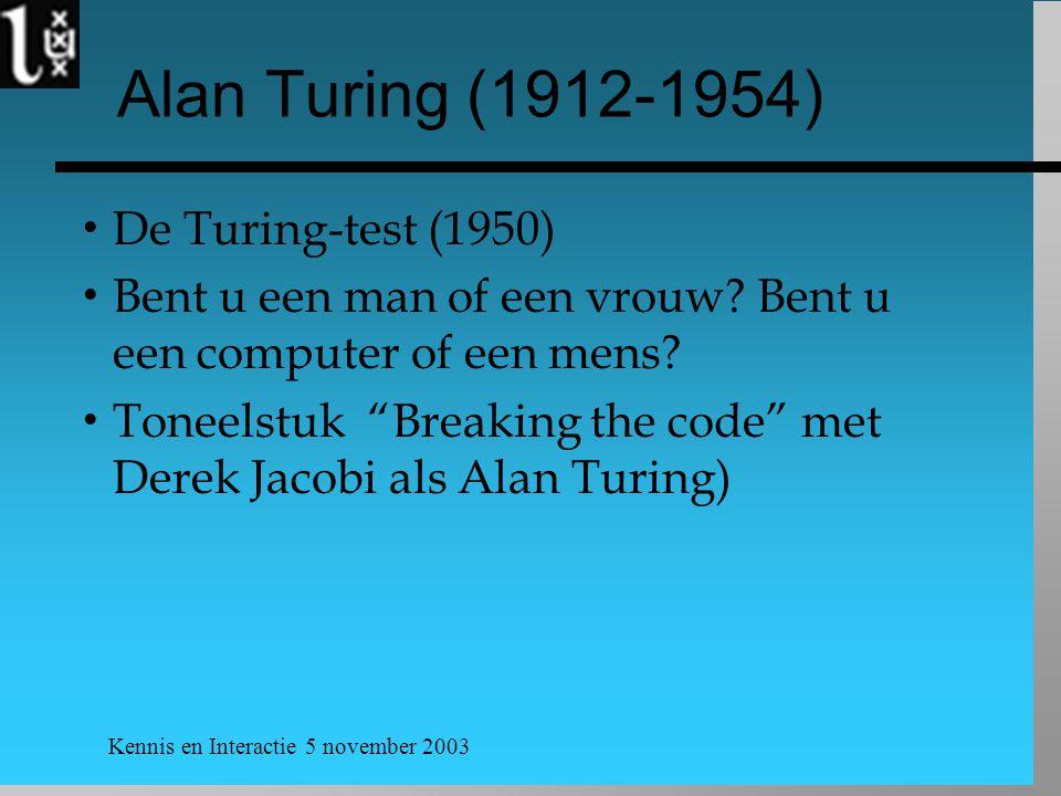 Alan Turing (1912-1954) De Turing-test (1950)
